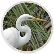 Great Egret Close Up Round Beach Towel