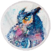 Great Horned Owl Round Beach Towel by Kovacs Anna Brigitta