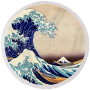 Great Wave Off Kanagawa Round Beach Towel by Katsushika Hokusai