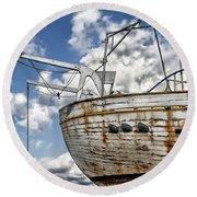 Greek Fishing Boat Round Beach Towel