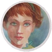 Green Eyes Round Beach Towel by Marilyn Jacobson