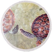 Green Turtles Round Beach Towel by Carey Chen