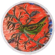 Round Beach Towel featuring the painting Green Warbler by Teresa White