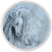 Grey Horse Round Beach Towel by Laurianna Taylor