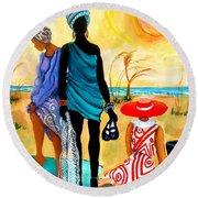 Gullah-creole Trio  Round Beach Towel