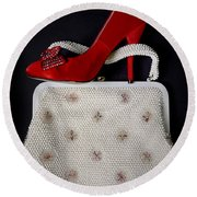 Handbag With Stiletto Round Beach Towel