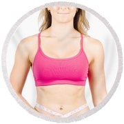 Happy Diet And Exercise Woman Measuring Body Fat Round Beach Towel