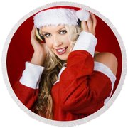 Happy Dj Christmas Girl Listening To Xmas Music Round Beach Towel