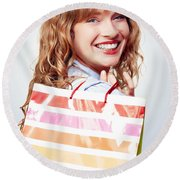 Happy Female Retail Shopper With Bag And Smile Round Beach Towel