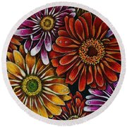 Happy Round Beach Towel by Linda Simon