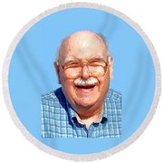 Happy Old Artist Round Beach Towel by Fred Jinkins