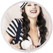 Happy Sailor Girl Pin-up Pulling In Anchor Rope Round Beach Towel