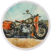 Harley Davidson Wla 1942 Round Beach Towel