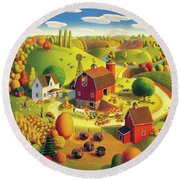 Harvest Bounty Round Beach Towel by Robin Moline