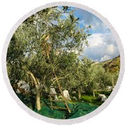 Harvest Day Round Beach Towel by Dany Lison