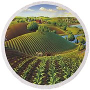 Round Beach Towel featuring the painting Harvest Panorama  by Robin Moline