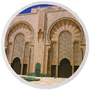 Round Beach Towel featuring the photograph Hassan II Mosque Grand Mosque Sour Jdid Casablanca Morocco by Ralph A  Ledergerber-Photography