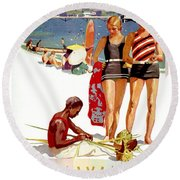 Hawaii Vintage Travel Poster Round Beach Towel