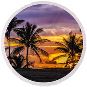 Hawaiian Sunset Round Beach Towel by Juli Scalzi