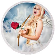 Heavenly Angel Of Love With Flower Arrow Round Beach Towel