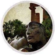 'hermanos' In The Valley Of The Temples Round Beach Towel