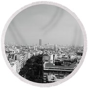 High Angle View Of A Cityscape, Paris Round Beach Towel