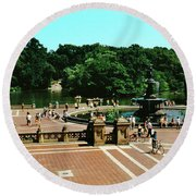 High Angle View Of Bethesda Terrace Round Beach Towel