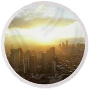 High Angle View Of Cityscape Round Beach Towel