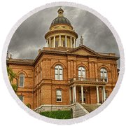 Historic Placer County Courthouse Round Beach Towel by Jim Thompson