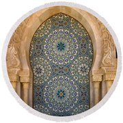 Round Beach Towel featuring the photograph Holy Water Fountain Hassan II Mosque Sour Jdid Casablanca Morocco  by Ralph A  Ledergerber-Photography