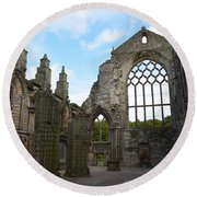 Holyrood Abbey Ruins Round Beach Towel by DejaVu Designs