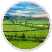 Horse Country Round Beach Towel by Alexey Stiop