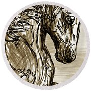 Horse Twins I Round Beach Towel