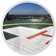 Hospital Helipad Round Beach Towel