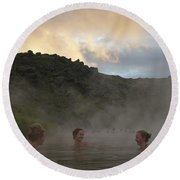 Hot Spring Round Beach Towel