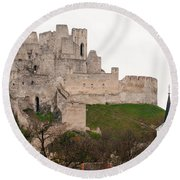 Round Beach Towel featuring the photograph Hrad Beckov - Castle by Les Palenik