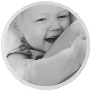 Hugging Mother And Daughter In Black And White Round Beach Towel