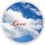 1 I Love You Heart Cloud Round Beach Towel