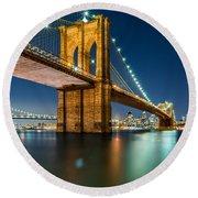 Illuminated Brooklyn Bridge By Night Round Beach Towel