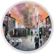 Round Beach Towel featuring the painting Images Of The Black Country by Ken Wood