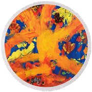 Round Beach Towel featuring the mixed media Impact by Donald J Ryker III