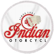 Indian Motorcycle Logo Round Beach Towel