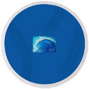 Round Beach Towel featuring the painting Inside The Wave by Teresa Wegrzyn