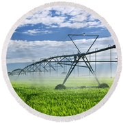 Irrigation Equipment On Farm Field Round Beach Towel