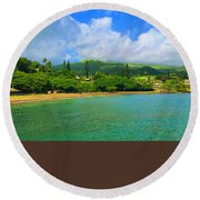 Island Of Maui Round Beach Towel