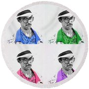 Round Beach Towel featuring the digital art Izzy by J Anthony