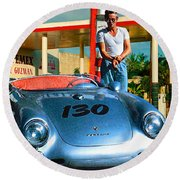 James Dean Filling His Spyder With Gas Round Beach Towel by Doc Braham