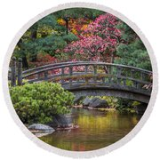 Japanese Bridge Round Beach Towel by Sebastian Musial