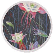 Round Beach Towel featuring the painting Japanese Flowers by Marina Gnetetsky