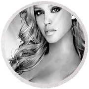 #1 Jessica Alba Round Beach Towel by Alan Armstrong